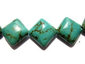 high quality turquoise gemstone squre diamond tibetant jewelry bead focal 20mm full strands 16inch