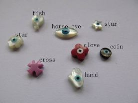 fashion eye shell MOP 5-10mm 28pcs,Top Quality ,mother of pearl  roundel hamsa oval clove cross hand star evil  mixed cabochons beads