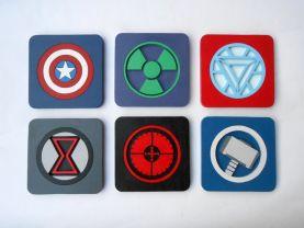 Handmade Avengers coasters, Set of 6