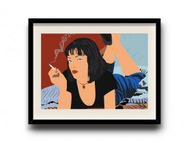 Pulp Fiction, Mia Wallace minimalist poster, Pulp Fiction digital art poster