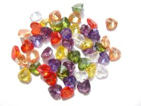 100pcs 3-10mm cubic zirconia gemstone heart love faceted assortment  jewelry beads cabochons