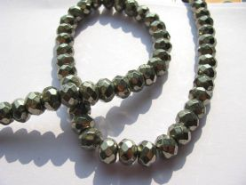 2strands genuine pyrite  beads 4x6 5x8 6x10mm ,high quality  iron gold abacus& faceted gemstone jewelry beads