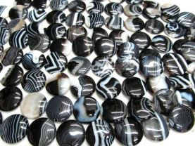 high quality  30mm 2strands natural Black  brown sardonyx gemstone coin disc jewelry bead