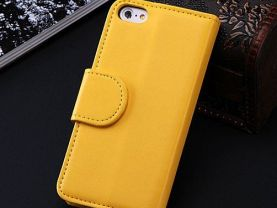 5C Luxury Pu Leather Case Photo Frame Wallet Book Cover For Iphone 5C Credit Card Slot Phone Shell Full Protect Flip Cover Case Y^Yellow