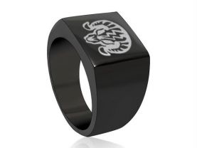 Bioshock Charge Vigor Black Square Stainless Steel Ring