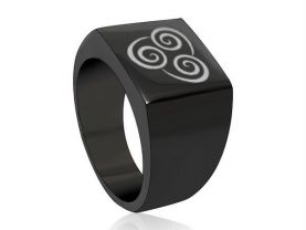 Avatar The Last Airbender Air Nomad Black Square Stainless Steel Ring