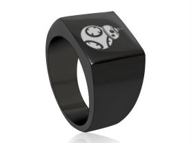 Star Wars BB-8 Black Square Stainless Steel Ring