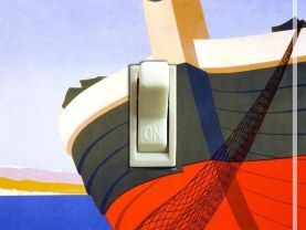 ITALY BOAT Vintage Travel Poster Switch Plate (single)