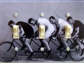 Quad BIKERS vintage photo Switch Plate (triple)