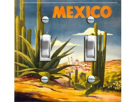 MEXICO CACTUS Vintage Travel Poster Switch Plate  (double)