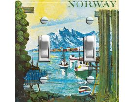 NORWAY Painting Vintage Travel Poster Switch Plate  (double)