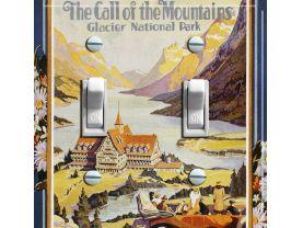 GLACIER National Park Vintage Poster Switch Plate (double)