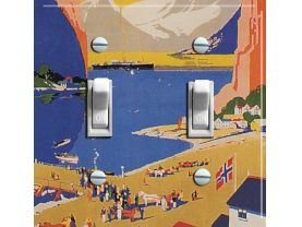 NORWAY Cruise Vintage Travel Poster Switch Plate (double)