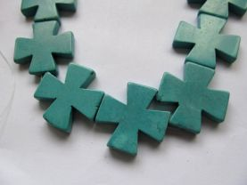 20%off-- 2strands 15-40mm Turquoise stone Cross blue Mixed turquoise pendant jewelry beads