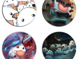 League of Legends Poro Set Of 4 Wood Drink Coasters