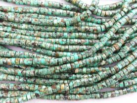 2strands 3-10mm Genuine African Turquoise beads  Turquoise stone Round heishi wheel  Green loose beads