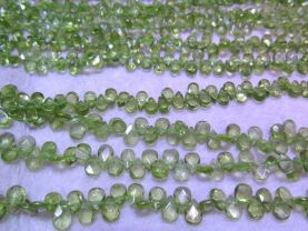 6-8mm full strand Genuine Peridot Briotettes heart faceted Brios teadrop faceted bead