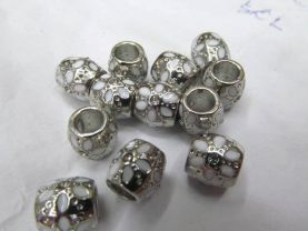 50pcs 9x13mm Vintage Rhinestone Brass  Connector ,Rice Drum Antique Silver Gold Black Mixed spacer Bead