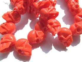 gergous Acrylic resin plastic beads skull skeleton carved oranger red white loose bead 18x25mm full strand