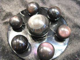 20-60mm 8sets natural Obsidian Sphere crystal round ball  rainbow obsidian gemstone +obsidian disc