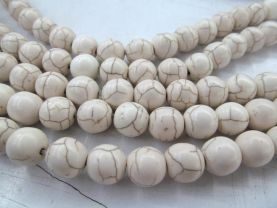 5 strands 2-20mm howlite turquoise beads  Turquoise stone Round Ball  Ivory white assortment loose   Bead