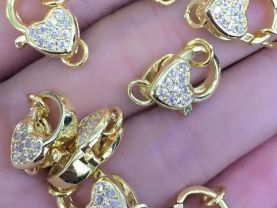 12pcs 12-20mm CZ Micro Pave Diamond paved Lobster Clasps Jewelry findings Micro Pave Assortment  Brass  heart link connectors