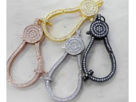 6pcs 15-50mm CZ Micro Pave Diamond paved Lobster Clasps Jewelry findings Micro Pave Assortment  Brass rose  gold Atique silver gumetal