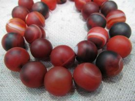 high quality 2strands 8 10 12 14 16mm Natual agate carnerila onyx Round Ball matte black red  wholesale loose bead