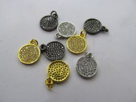 AAA 12pcs 12mm  Micro Pave set cubic zirconia beads round roundel disc charm silver gold gunmetal ring beads