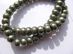 2strands  genuine Raw pyrite  crystal  round ball polished  iron gold pyrite beads 3x4 4x6 5x8 6x10mm