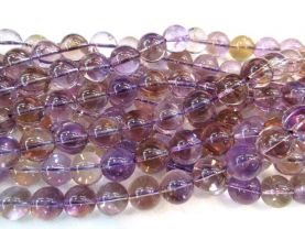 AA+ Natural Ametrine quartz Amethyst Citrine rock crystal round ball jewelry beads 4 6 8 10 12mm full strand