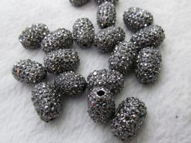 high quality 50pcs 13x18mm Pave Micro Rhinestone Brass  Crystal Connector ,Rice Drum Hematite Gunmetal jewelry Finding