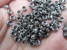 free ship--200pcs 4 mm  Micro Pave Crystal spacer Brass European Bead  Rondelle Pinwheel Buttone gunmetal jewelry connector Findings