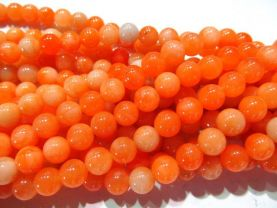 5strands 3 4 6 8 10 12mm oranger Jade Beads  Round Ball Polished  Asssortment jewelry Loose bead