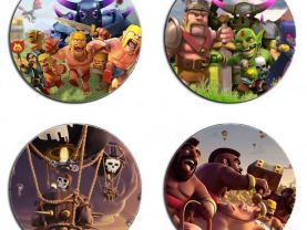 Clash Of Clans Set Of 4 Wood Drink Coasters