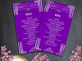 Printable Menu Template -  Art Deco Great Gatsby Inspired - Purple and Silver - EDITABLE TEXT - Microsoft Word Format