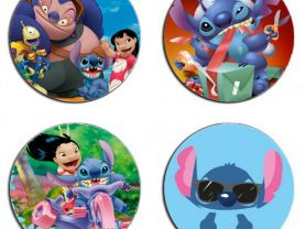 Lilo and Stitch Set Of 4 Wood Drink Coasters
