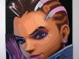 Handmade Sombra, Overwatch portrait, Sombra wall art