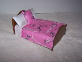 Dollhouse Miniature Comforter Set 1:12 Scale Pink/Paris Fabric Print Handmade Matching Pillows