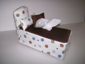 Bed Shaped , Tissue Box Cover , Two Mini Pillows , Sports Theme , Novelty , Fabric Craft , Home Decor , Unique Design