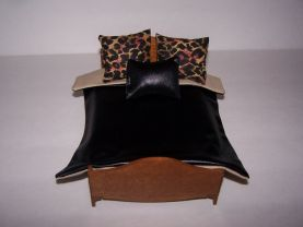 Dollhouse Miniature | Comforter Set | Pillows |1:12 Scale | Black Faux Leather | Tan Lining | Handmade | Bedding