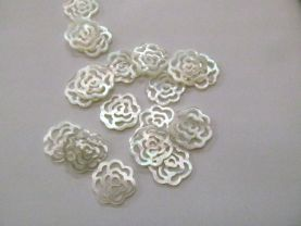 Batch Natural White MOP Shell Rose Pendants White Shell Rose Connector 17-25mm 12pcs