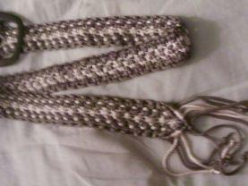 Vintage Gray and Cream Hippie Boho Macrame Belt W/ Fringed Ends Size 24 - 26