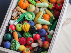 vegetables and fruits from polymer clay for games