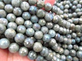 4-16mm 16inch Natural Mystic Coated Labradorite Beads / AB Coated Faceted Round Labradorite Beads Gemstone Beads