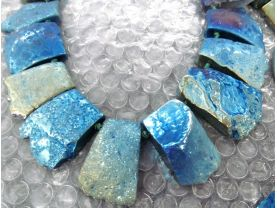 Wholesale Pyrite Stone Electroplated Quartz Titanium Quartz Crystal Rainbow Gold Silver Blue Nuggets Rectangle Necklace  20-35mm full strand