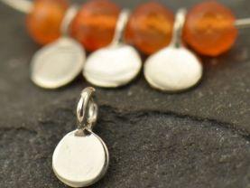 Sterling Silver Tiny Flat Circle Dangle Charm 10PK