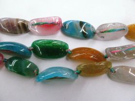 Rainbow Agate Gemstone Brazil Agate Jewelry Curve  Slice Bracelet Connector Loose Beads 13x30mm full strand