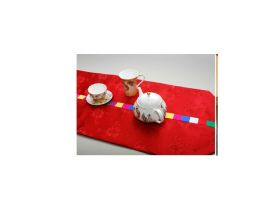 Handmade silk table runner - red