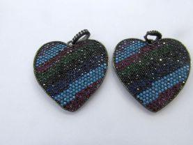 30mm Micro Pave Diamond Heart Pendant, Pave Black Diamond CZ Pendant, blue Heart Charm,Heart Ring Silver gold Rose gold Gunmetal beads 2pcs